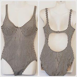 J Crew Black&White Vertical Stripes 1 Piece Swim
